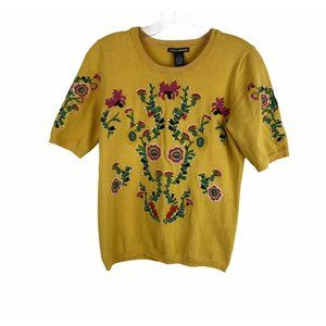 Chelsea& Theodore Yellow Floral Embroidered Top S